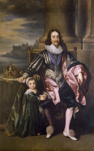 "MARBLE HILL HOUSE, Richmond-upon-Thames, Greater London. ""King Charles I and Prince Charles"" (later Charles II) after Sir Anthony VAN DYCK (1599-1641). Painting oil on canvas"