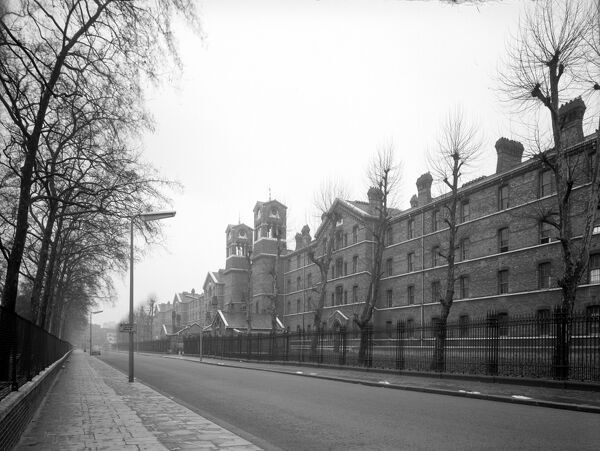 Chelsea Barracks, Chelsea Bridge Road, London. The barracks of 1861-63 from the south, photographed by Herbert Felton in 1960. These buildings were demolished circa 1960-61, shortly after this photograph was taken