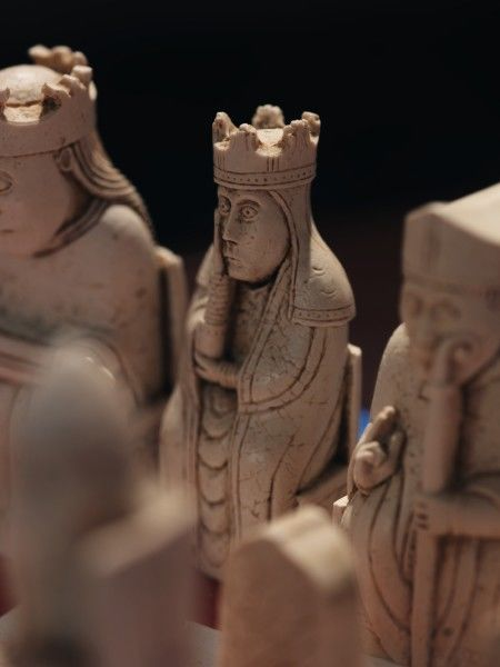DOVER CASTLE, Kent. Detailed view of replica version of Lewis Chessmen found in the Great Tower