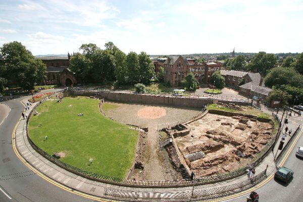 CHESTER ROMAN AMPHITHEATRE, Cheshire. Elevated view with excavation in progress