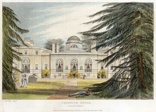 "CHISWICK HOUSE, Burlington Lane, Hounslow, London. ""Garden front"". Aquatint colour engraving dated 1823. No.4 of Ackermann's Repository of Arts. MAYSON BEETON COLLECTION"