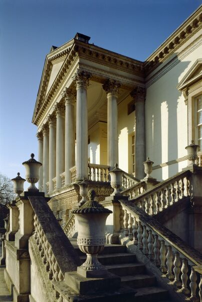 CHISWICK HOUSE, London. View looking up the entrance right hand steps towards the portico