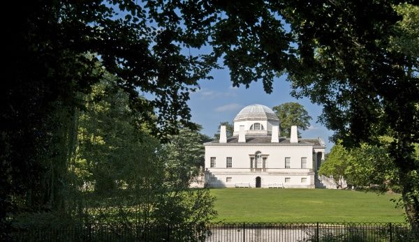 CHISWICK HOUSE, London. View across river to the west front
