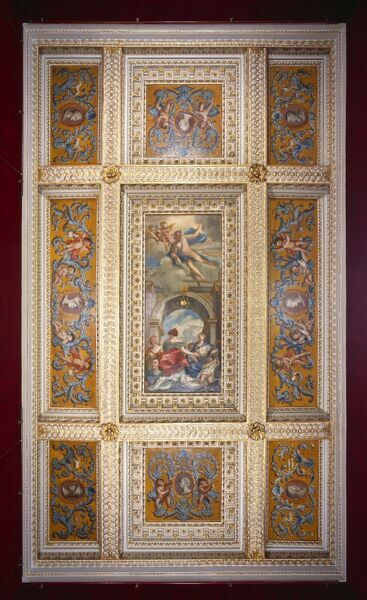CHISWICK HOUSE, London. Interior. View of the ceiling in the Red Velvet Room. The ceiling is inset with painted panels attributed to William Kent and has usually been interpreted as an allegory of the Arts. The panels around the edge, for example