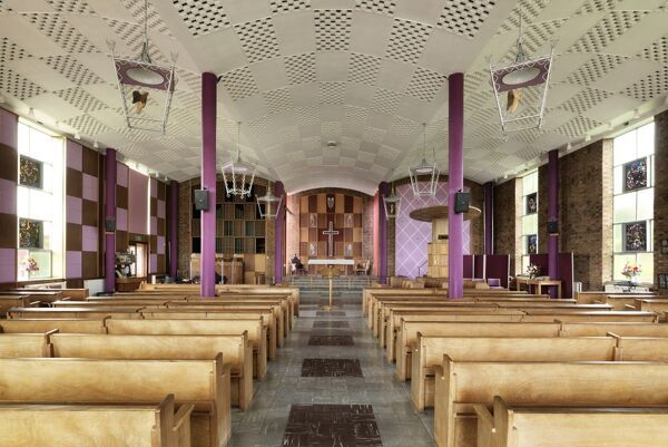 Christ Church, Frankpledge Road, Cheylesmore, Coventry, West Midlands. Interior, general view of nave