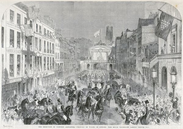 MAYSON BEETON COLLECTION. Strand, London 1863. A procession leading from Temple Bar. The City's welcome to Princess Alexandra, the bride of the Prince of Wales (later Edward VII). Engraving from the Mayson Beeton Collection