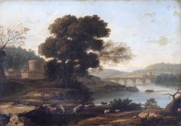 "APSLEY HOUSE, London. ""Pastoral Landscape with the Ponte Molle, Rome"" circa 1645 by CLAUDE, Gellee (1600-1682). From Spanish Royal Collection. Captured by the Duke of Wellington at Vitoria, 1813. WM 1599-1948. Lorrain"