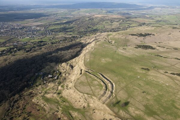 Cleeve Hill camp, Gloucestershire. Iron Age hillfort on the edge of the Cotswold scarp. SO9825/75