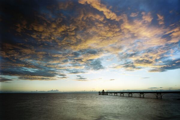 CLEVEDON PIER, North Somerset. The pier at sunset