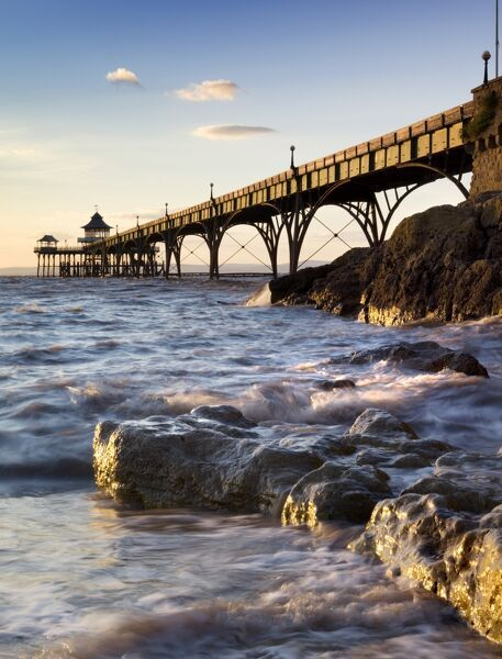CLEVEDON PIER, North Somerset. General view of the pier taken from the beach