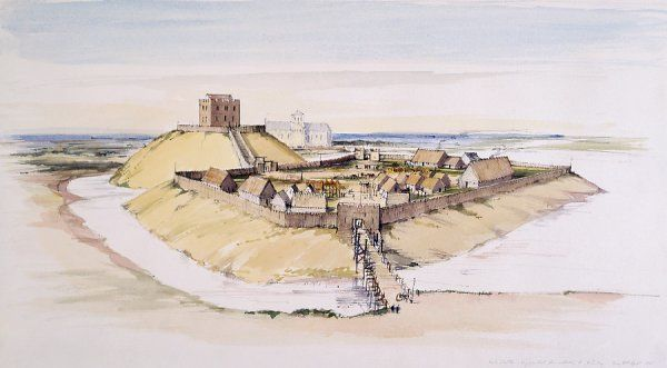 CLIFFORD'S TOWER, YORK CASTLE, North Yorkshire. A reconstruction drawing of the motte, bailey & early timber buildings; late 11th century built on the orders of William I. Terry Ball (English Heritage Graphics Team). clifford