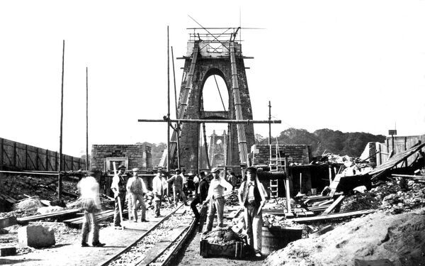 CLIFTON SUSPENSION BRIDGE, Bristol. The bridge under construction. Work began on the bridge in 1836 under the supervision of Isambard Kingdom Brunel but stopped due to lack of funds. Work resumed in the 1860s and the bridge was finished in 1864