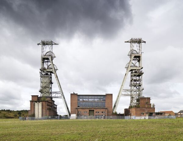 Clipstone Colliery, Clipstone, Nottinghamshire. 1953 to the designs of architects Young and Purves of Manchester. General view of listed headstocks and power house