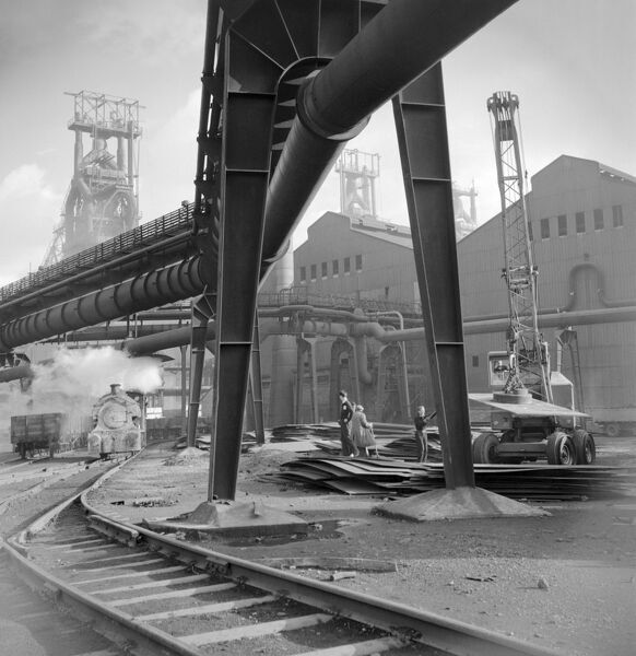 CONSETT STEEL WORKS, Durham. General view of the Consett Steel Works showing trackways and overhead piping. The works supplied the materials for everything from Blackpool Tower to Britain's nuclear submarines. Photographed by Eric de Mare