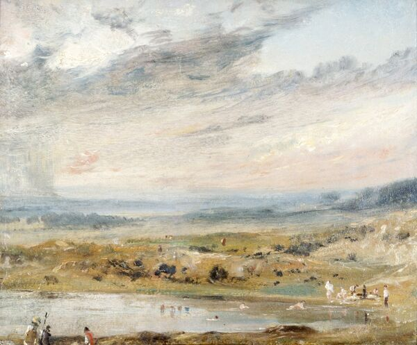 "KENWOOD HOUSE, THE IVEAGH BEQUEST, London. "" Hampstead Heath with Pond and Bathers "" 1821 by John CONSTABLE (1776-1837)"
