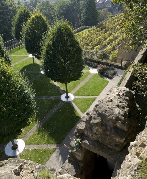 BISHOP'S PALACE, LINCOLN, Lincolnshire. Elevated view of the contemporary heritage garden