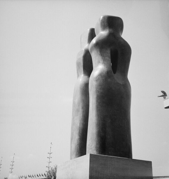 Festival of Britain 1951, Lambeth, London. Barbara Hepworth's sculpture 'Contrapuntal Forms' exhibited on the South Bank Exhibition site. Photographed by M W Parry