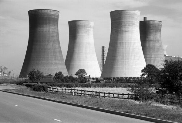 Lincolnshire. General view showing cooling towers at an unidentified power station. Photographed by Eric de Mare