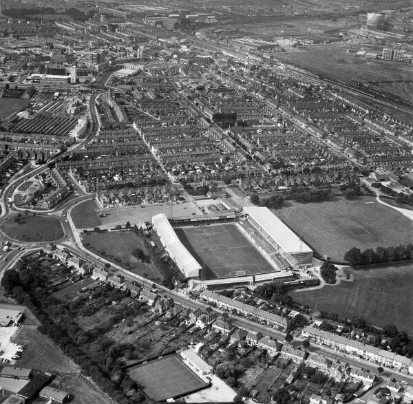 COUNTY GROUND, Swindon. Aerial view of the home of Swindon Town Football Club. Photographed on 17th September 1971. Aerofilms Collection (see Links)