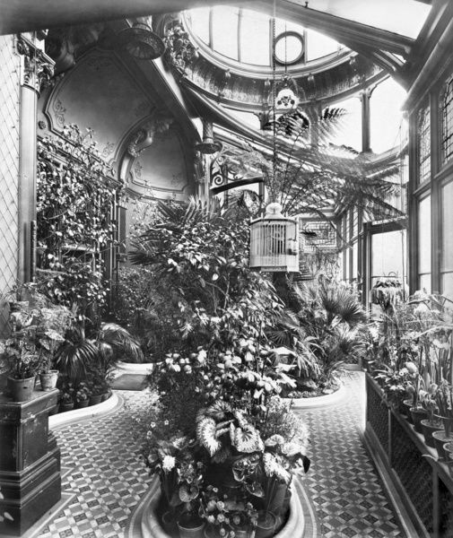 COURTLANDS, Clapham Park, Worthing, West Sussex. Interior of the Conservatory. Photographed by Bedford Lemere in 1897 for Sir G Mason. In the Second World War Courtlands was used as headquarters by the First Canadian Army