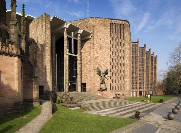 COVENTRY CATHEDRAL, West Midlands. View from the south east showing Jacob Epstein's sculpture ' St Michael's Victory over the Devil '
