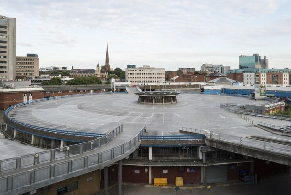 Coventry Market, Queen Victoria Road, Coventry, West Midlands. General view from the north west showing the roof top car park