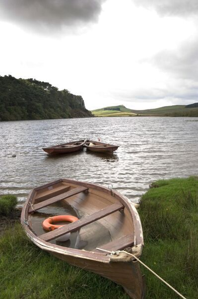CRAG LOUGH, Hadrian's Wall, Northumberland. General view of Crag Lough with boat. hadrian
