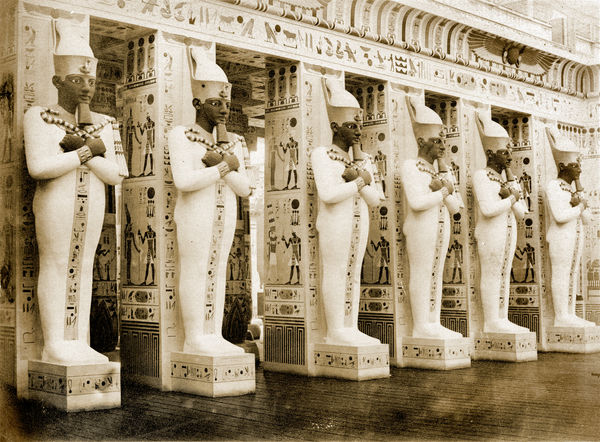 CRYSTAL PALACE, Sydenham, London. The Egyptian Court, showing the portico from the Memnonium, Thebes; the statues represent the god Osiris. The temple was part of a large complex built by Rameses II. Photographed in 1859 by Philip Henry Delamotte