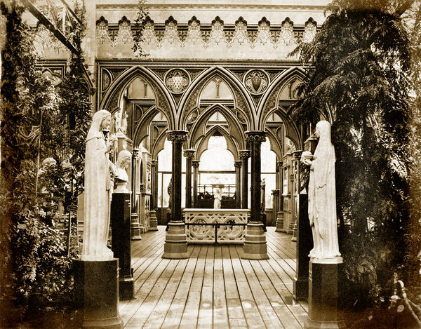 CRYSTAL PALACE, Sydenham, London. The entrance to the Medieval Vestibule, designed by Augustus Pugin (1812-1852), the renowned architect and writer who championed medieval craftsmanship and style against the Classical, influencing the Gothic Revival movement