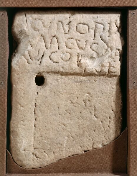 WROXETER ROMAN CITY, Shropshire. Tombstone of a man named Cunorix, buried between 450-475. Now in the museum