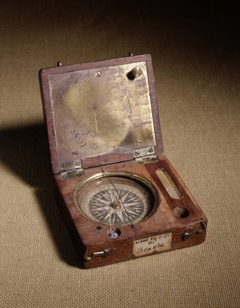 DOWN HOUSE, Downe, Kent. Compass in box used by Charles Darwin on the Beagle