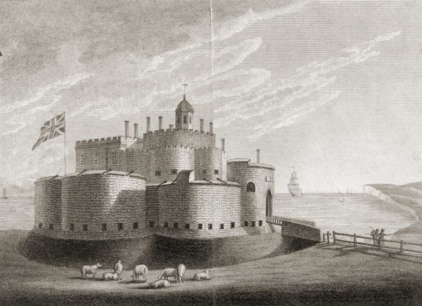 WALMER CASTLE, Kent. Queen Mother's picture collection. Engraving of Deal Castle