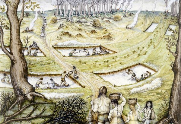 MAIDEN CASTLE, Dorset. Reconstruction drawing by Miranda Schofield showing people digging defence ditches