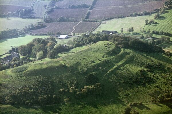 Dixton Hill, Alderton, Gloucestershire. An Iron Age hillfort with a Norman motte and bailey castle superimposed at the south-east end. Photographed in October 1970 by Jim Hancock