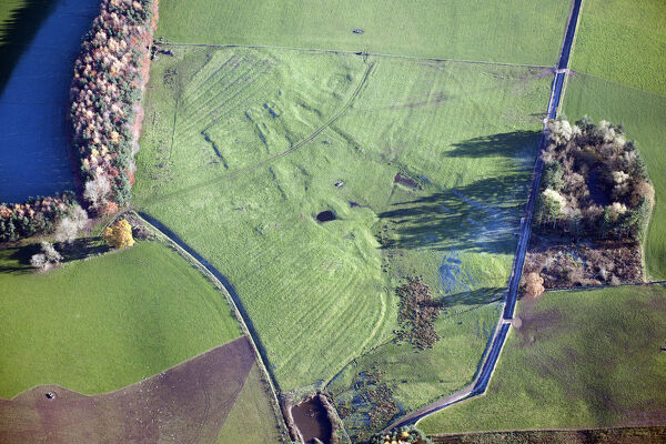 The Deserted Medieval Settlement earthwork of Dolphenby, ridge and furrow earthwork, Cumbria, 2013