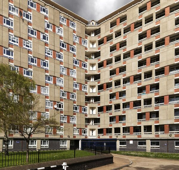 Dorset Estate, Diss Street, Tower Hamlets, London.   General view of tower block by Lubetkin