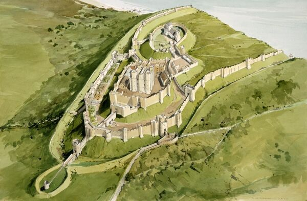 DOVER CASTLE, Kent. Aerial view reconstruction drawing of the castle c1300 by Terry Ball (English Heritage Graphics Team)