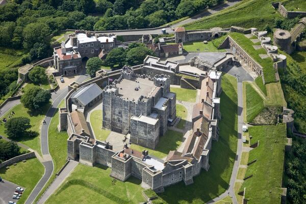 DOVER CASTLE, Kent. Aerial view of the inner bailey and keep showing the forebuilding