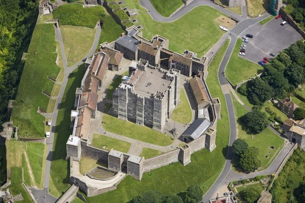 DOVER CASTLE, Kent. Aerial view of the inner bailey and keep from the west