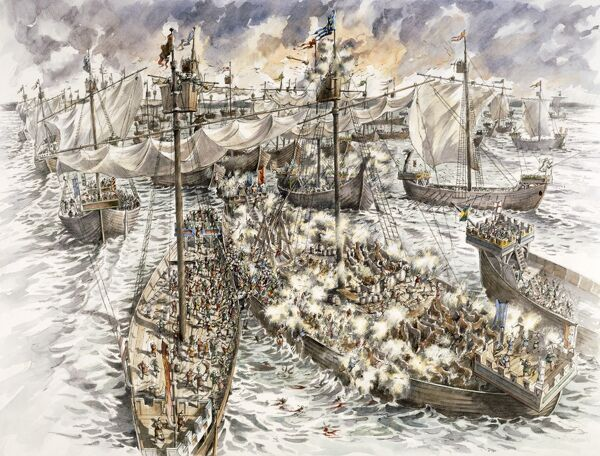 DOVER CASTLE, Kent. The siege of 1216. Reconstruction drawing by Peter Dunn (English Heritage Graphics Team) of a naval battle in Sandwich Bay