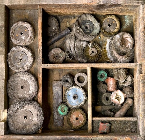 J.W.EVANS, Birminghham, West Midlands. Detailed view of a draw containing a collection of polishing wheels