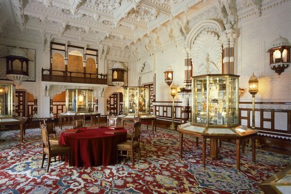 OSBORNE HOUSE, Isle of Wight. Interior view of the Durbar Room looking towards the minstrel's gallery. Some items shown maybe on loan from the Royal Collection