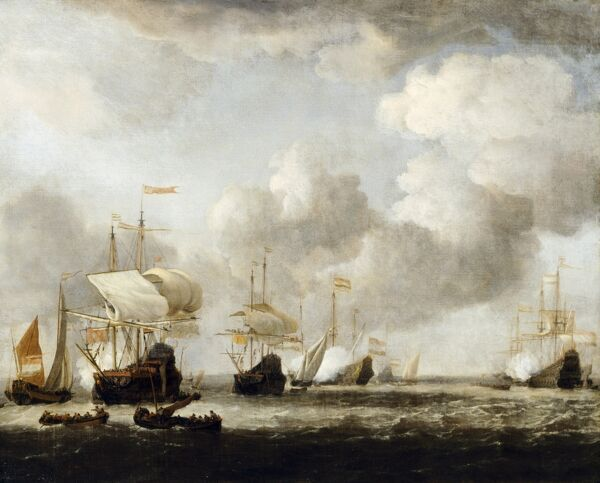 "KENWOOD HOUSE, THE IVEAGH BEQUEST, London. ""A Dutch Fleet coming to anchor in a breeze."" Oil on canvas attr. to Willem Van de Velde 1665. IBK 960"
