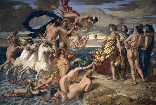 "OSBORNE HOUSE, Isle of Wight. "" Neptune resigning the Empire of the Seas to Britannia "" 1847. Fresco by William Dyce (1806-64)"