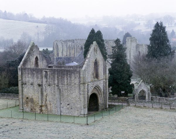 EASBY ABBEY, North Yorkshire. View of the Gatehouse and beyond to the abbey