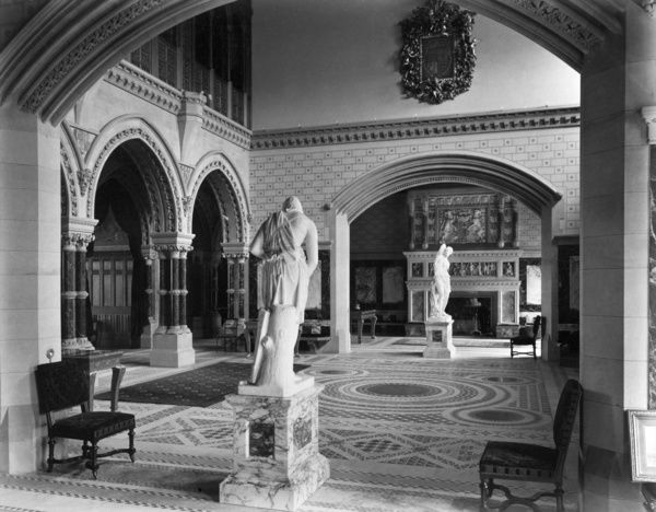EATON HALL, Eaton, Chester, Cheshire. Interior of the saloon; recess with statue. Photographed by Bedford Lemere for his grace the Duke of Westminster in 1887