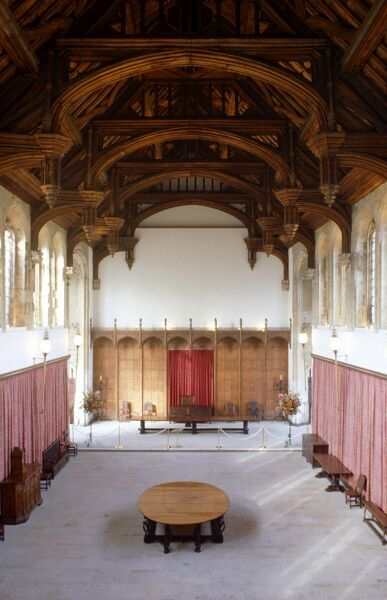 ELTHAM PALACE, London. Interior view of the Great Hall