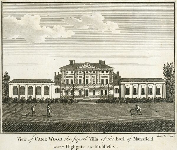 "KENWOOD HOUSE, Hampstead Lane, Highgate, London. ""View of Cane Wood, the superb villa of the Earl of Mansfield near Highgate in Middlesex"". Exterior view of the south or garden front. Engraving dated 1770. MAYSON BEETON COLLECTION"