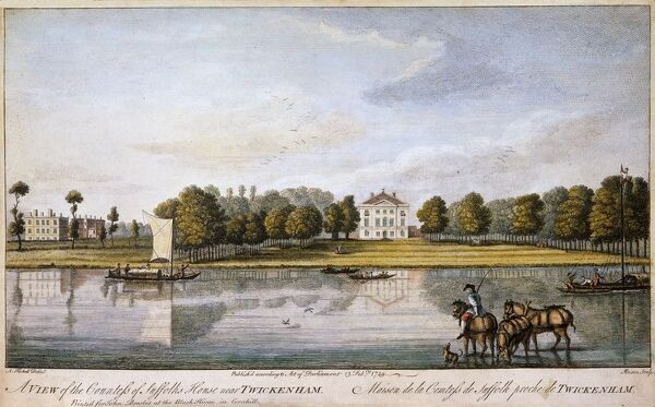 "MARBLE HILL HOUSE, Twickenham, Middlesex. ""The Countess of Suffolk's House"" after Augustin Heckell. Coloured engraving. 1749"