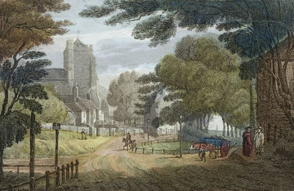 MAYSON BEETON COLLECTION. Entrance to Hastings, East Sussex (from Old London Road, showing All Saints€™ Church). Anon. c.1790. Colour engraving published by E. Nye, Tunbridge Wells